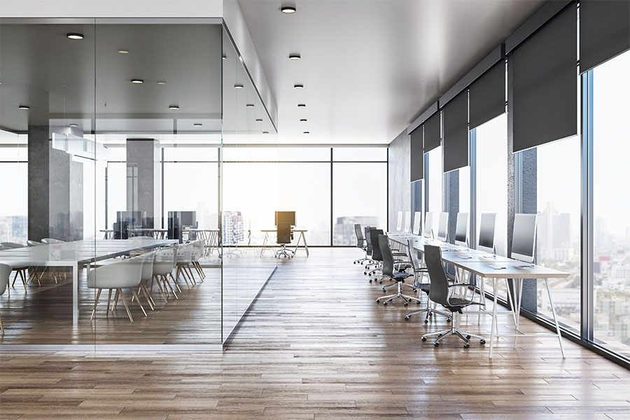 Business Insurance - Interior of a Corporate Modern Designed Office Space in a Tall Building